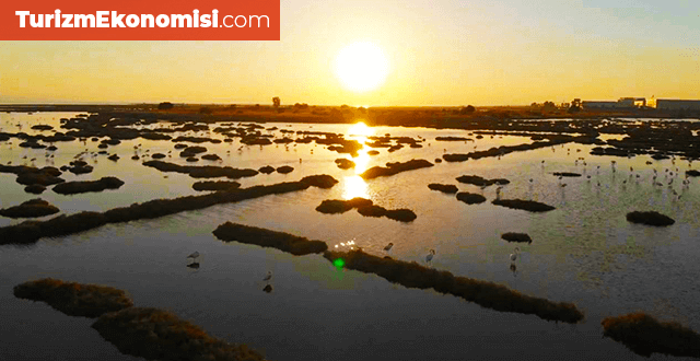İzmir Kuş Cenneti'nde gün batımı güzelliği